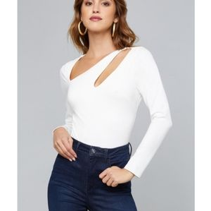 Bebe White Asymmetric Cut Out Bodysuit - L